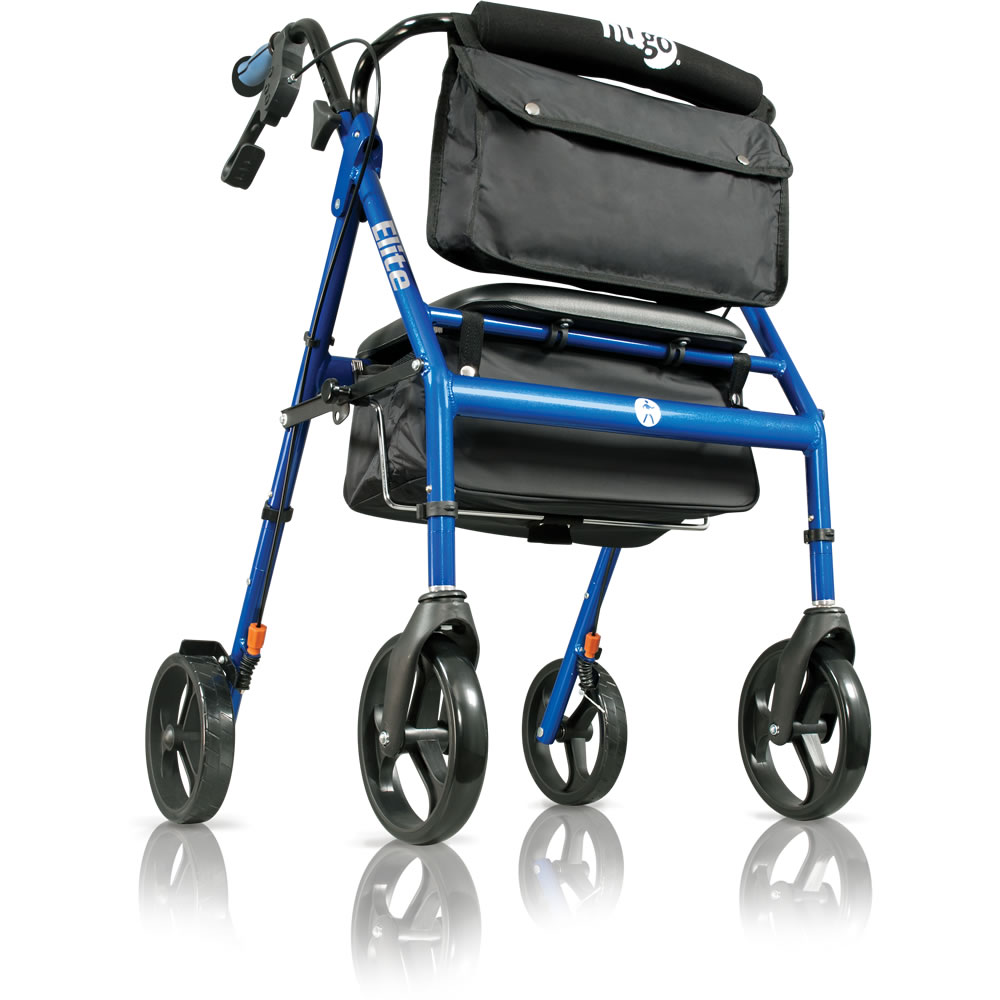Hugo 174 Elite Rolling Walker With A Seat Pacific Blue