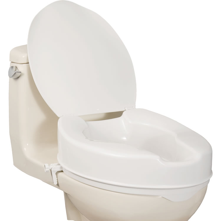 AquaSense Elongated Raised Toilet Seat With Lid Raises The Toilet By 4 In